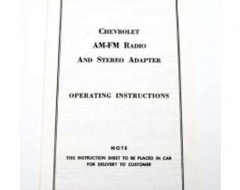 Firebird AM-FM Radio & Stereo Adapter Operating Instructions Booklet, 1968