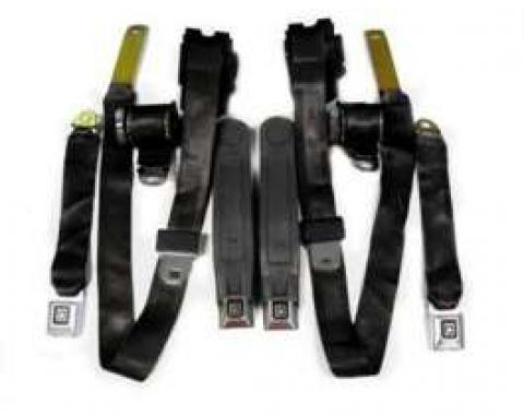 Firebird Seat Belt Set, Black, With Factory Buckles, 1978-1981