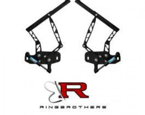 Firebird Hood Hinges, Billet Aluminum, Black Anodized, Air Frame, For Cars With Steel Hood, 1967-1969