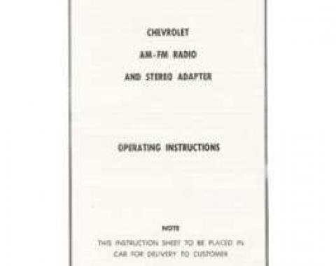 Firebird AM-FM Radio & Stereo Adapter Operating Instructions Booklet, 1967