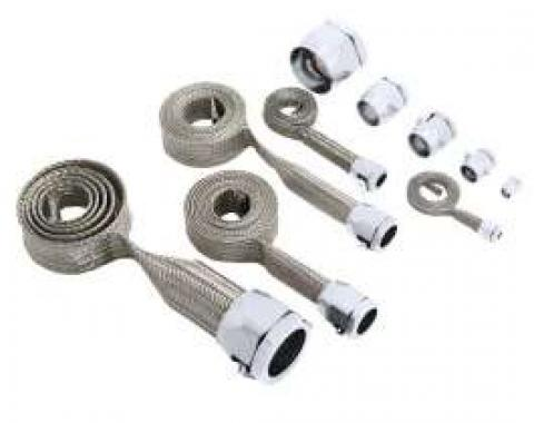 Firebird Hose Cover Kit, Stainless Steel, Braided, Universal, With Chrome Clamps, 1967-1969