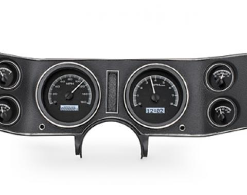 Camaro Analog Dash Kit VHX, Dakota, Black Alloy Finish with Blue LED, KPH/Celsius, 1970-1981