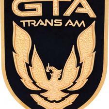 1987-90 Firebird Trans GTA Black / Gold Front Panel Emblem