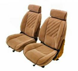 Camaro Seat Cover Set, Vinyl, Front & Rear, For Cars With Deluxe Interior & Solid Rear Back, Black, 1985-1987