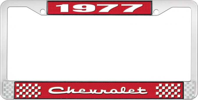 OER 1977 Chevrolet Style # 2 Red and Chrome License Plate Frame with White Lettering LF2237702C
