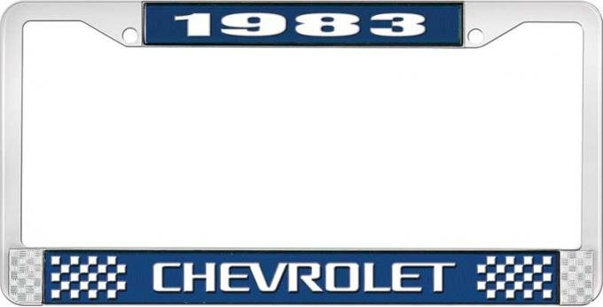 OER 1983 Chevrolet Style # 3 Blue and Chrome License Plate Frame with White Lettering LF2238303B