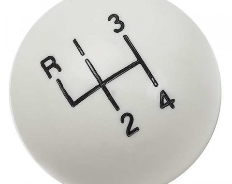"""OER White 4-Speedshift Knob with 3/8""""-16 Thread 3961437W"""