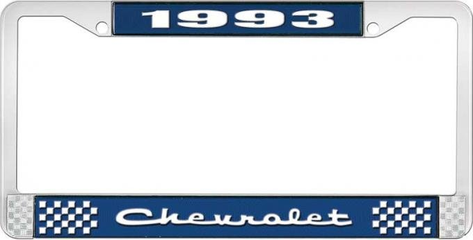 OER 1993 Chevrolet Style # 2 Blue and Chrome License Plate Frame with White Lettering LF2239302B