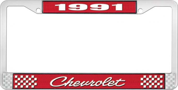 OER 1991 Chevrolet Style # 4 Red and Chrome License Plate Frame with White Lettering LF2239104C