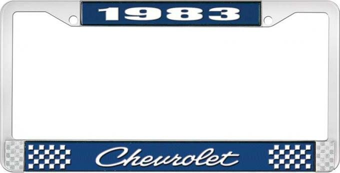 OER 1983 Chevrolet Style # 4 Blue and Chrome License Plate Frame with White Lettering LF2238304B