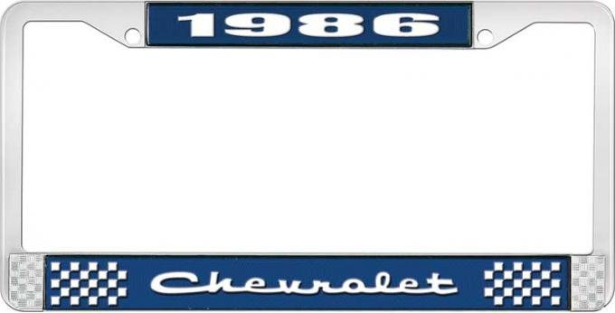 OER 1986 Chevrolet Style # 2 Blue and Chrome License Plate Frame with White Lettering LF2238602B