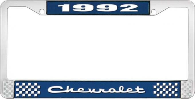 OER 1992 Chevrolet Style # 2 Blue and Chrome License Plate Frame with White Lettering LF2239202B