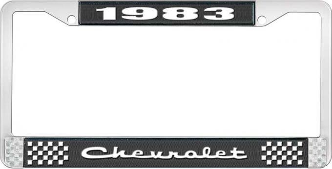 OER 1983 Chevrolet Style # 2 Black and Chrome License Plate Frame with White Lettering LF2238302A