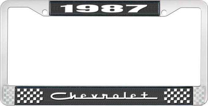OER 1987 Chevrolet Style # 5 Black and Chrome License Plate Frame with White Lettering LF2238705A