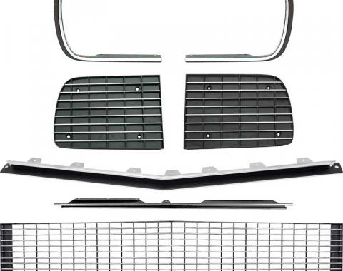 OER 1967-68 Camaro RS Restorer's Choice™ Grill Kit with Silver Trim / without Headlamp Bezels *R5027D