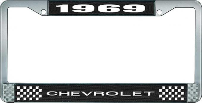 OER 1969 Chevrolet Style # 1 Black and Chrome License Plate Frame with White Lettering LF2236901A