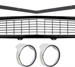 OER 1969 Camaro Restorer's Choice Standard Black Grill Kit with Headlamp Bezels with Chrome Ring *R5028F