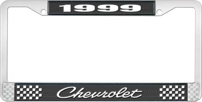 OER 1999 Chevrolet Style # 4 Black and Chrome License Plate Frame with White Lettering LF2239904A