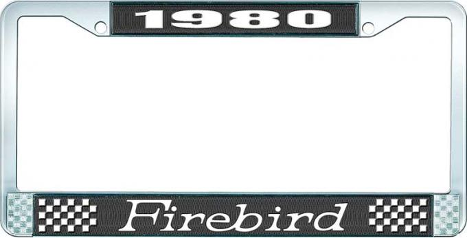 OER 1980 Firebird License Plate Frame - Black and Chrome with White Lettering LF2318001A