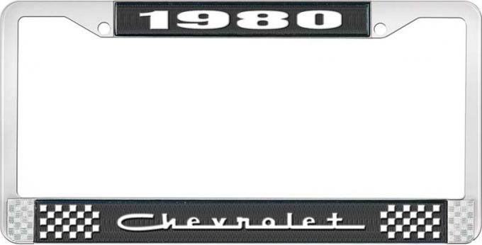 OER 1980 Chevrolet Black And Chrome License Plate Frame With White Lettering LF2238005A