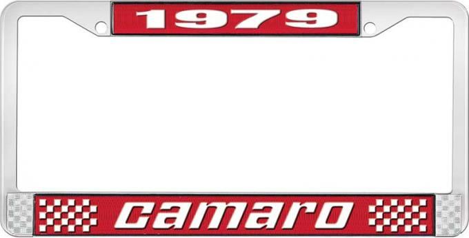 OER 1979 Camaro Style #2 License Plate Frame - Red and Chrome with White Lettering LF3537902C