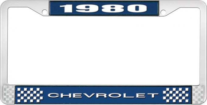 OER 1980 Chevrolet Style # 1 Blue and Chrome License Plate Frame with White Lettering LF2238001B