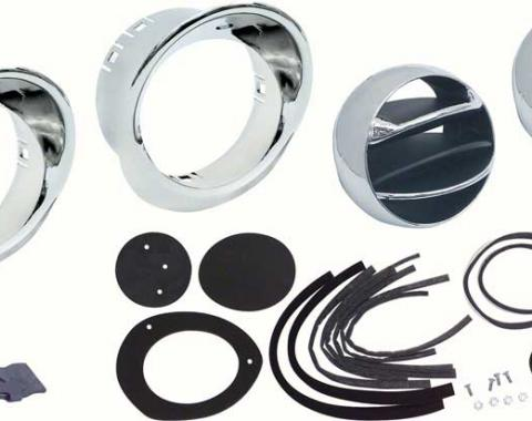 OER 1967-68 Camaro / Firebird Astro Ventilation Vent Kit with Chrome Bezels *R566