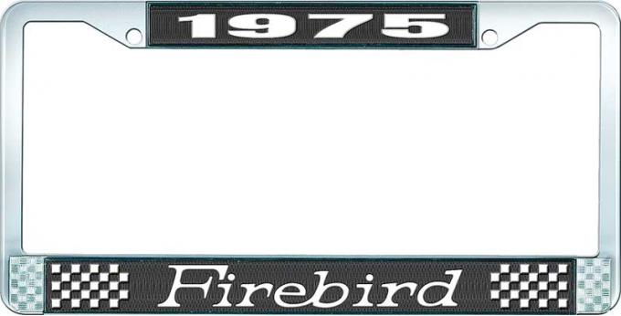 OER 1975 Firebird License Plate Frame - Black and Chrome with White Lettering LF2317501A