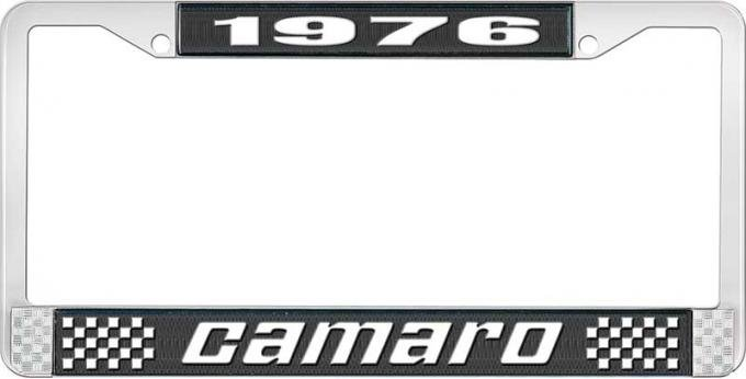 OER 1976 Camaro Style #2 License Plate Frame - Black and Chrome with White Lettering LF3537602A