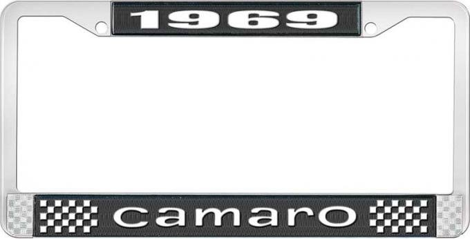 OER 1969 Camaro Style #1 License Plate Frame - Black and Chrome with White Lettering LF3536901A