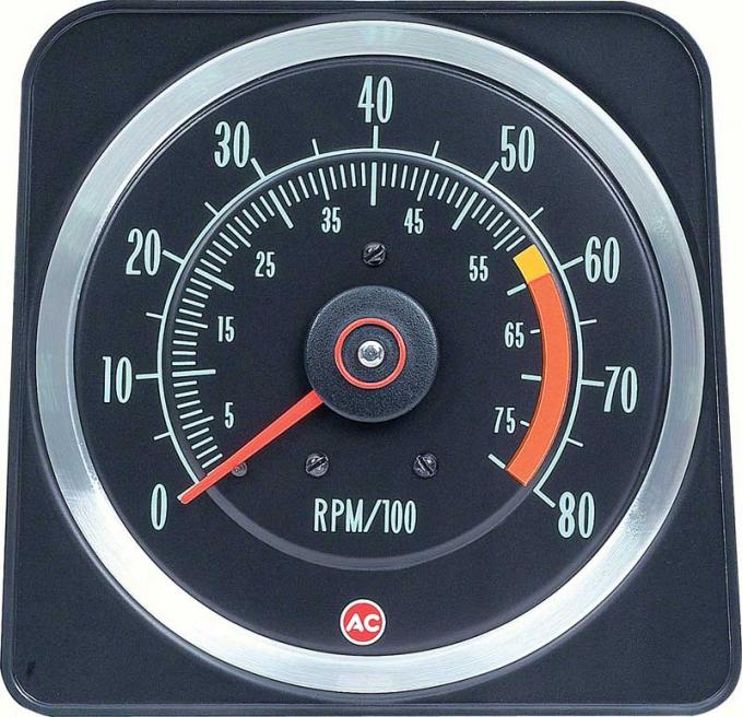 "OER 1969 Camaro Z28, 396/375Hp 6"" X 8"" Tach with 6000 Red Line with 8000 RPM Maximum 6469384"