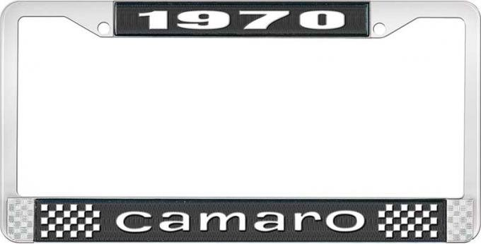 OER 1970 Camaro Style #1 License Plate Frame - Black and Chrome with White Lettering LF3537001A