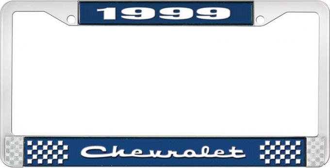 OER 1999 Chevrolet Style # 2 Blue and Chrome License Plate Frame with White Lettering LF2239902B