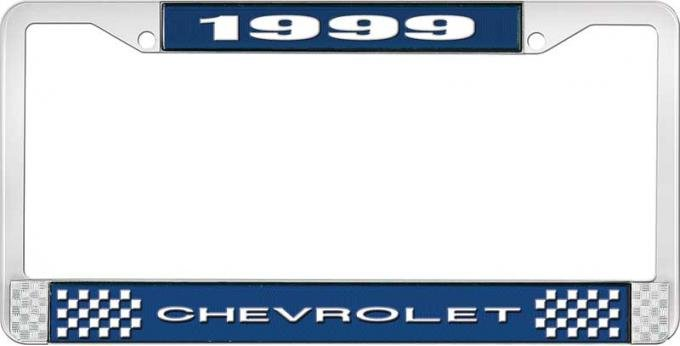OER 1999 Chevrolet Style # Blue and Chrome License Plate Frame with White Lettering LF2239901B