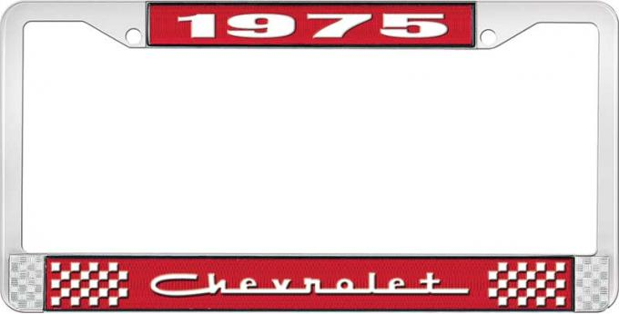 OER 1975 Chevrolet Style # 5 Red and Chrome License Plate Frame with White Lettering LF2237505C