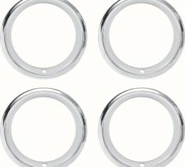 "OER 14"" Stainless Steel 2-7/8"" Deep Step Lip Rally Wheel Trim Ring Set for Reproduction Wheels 545910"