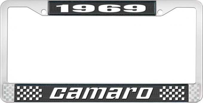OER 1969 Camaro Style #2 License Plate Frame - Black and Chrome with White Lettering LF3536902A