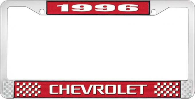 OER 1996 Chevrolet Style # Red and Chrome License Plate Frame with White Lettering LF2239603C