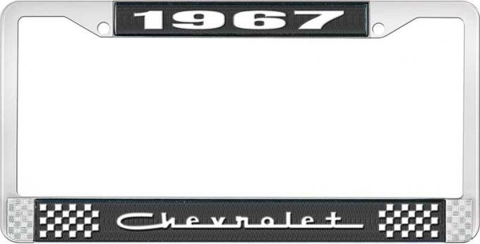 OER 1967 Chevrolet Style #5 Black and Chrome License Plate Frame with White Lettering LF2236705A