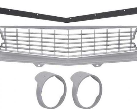 OER 1969 Camaro Restorer's Choice Standard Silver Grill Kit with Headlamp Bezels without Chrome Ring *R5028G