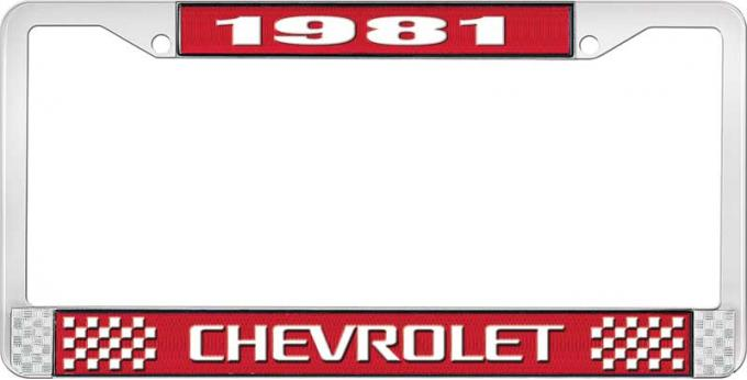 OER 1981 Chevrolet Style # 3 Red and Chrome License Plate Frame with White Lettering LF2238103C