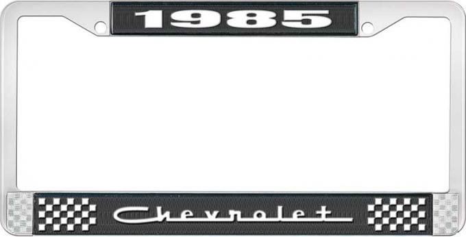 OER 1985 Chevrolet Style # 5 Black and Chrome License Plate Frame with White Lettering LF2238505A