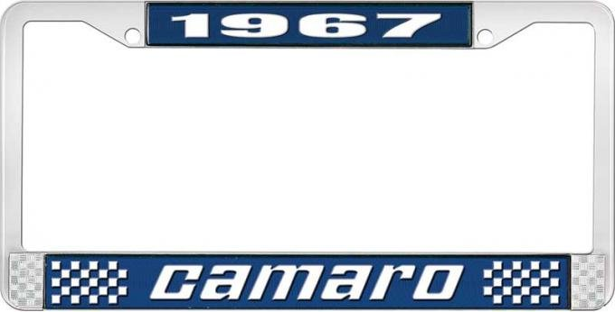 OER 1967 Camaro Style #2 License Plate Frame - Blue and Chrome with White Lettering LF3536702B