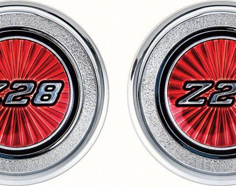 OER 1977-79 Camaro Red Z28 Interior Door Panel Emblems K74306