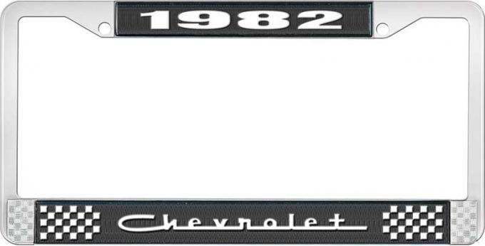 OER 1982 Chevrolet Style # 5 Black and Chrome License Plate Frame with White Lettering LF2238205A