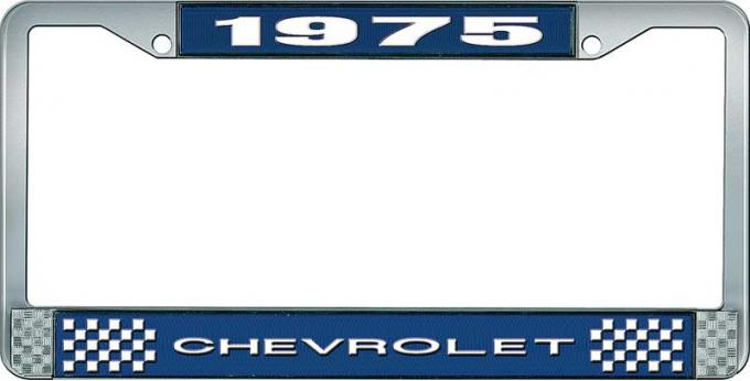 OER 1975 Chevrolet Style # 1 Blue and Chrome License Plate Frame with White Lettering LF2237501B
