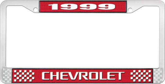 OER 1999 Chevrolet Style # 3 Red and Chrome License Plate Frame with White Lettering LF2239903C