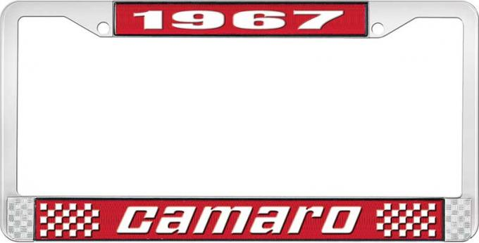 OER 1967 Camaro Style #2 License Plate Frame - Red and Chrome with White Lettering LF3536702C