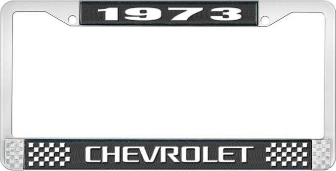 OER 1973 Chevrolet Style # 3 Black and Chrome License Plate Frame with White Lettering LF2237303A