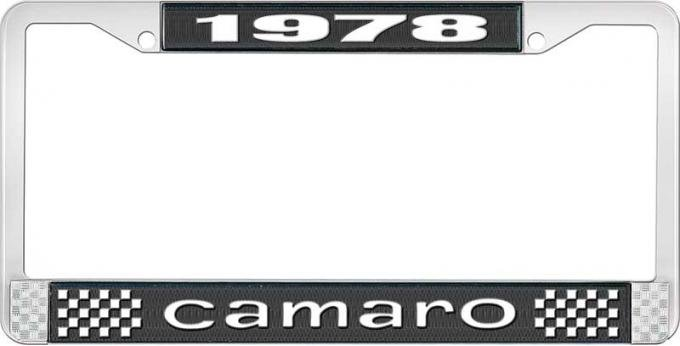 OER 1978 Camaro Style #1 License Plate Frame - Black and Chrome with White Lettering LF3537801A
